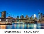night view of brooklyn bridge... | Shutterstock . vector #656475844
