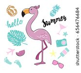 pink flamingo and summer... | Shutterstock .eps vector #656476684
