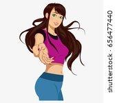 beautiful girl in sportswear ....   Shutterstock . vector #656477440