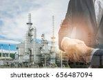double exposure of handshake... | Shutterstock . vector #656487094