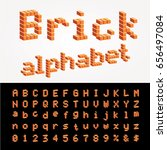 vector 3d brick alphabet  easy... | Shutterstock .eps vector #656497084