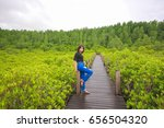 asian girl enjoying with nature ... | Shutterstock . vector #656504320