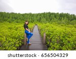 asian girl enjoying with nature ... | Shutterstock . vector #656504329