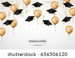 graduation hat. confetti and... | Shutterstock .eps vector #656506120