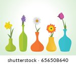 colorful flowers in vases...
