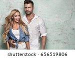 beautiful caucasian couple...   Shutterstock . vector #656519806