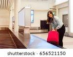 young woman passenger in 20s...   Shutterstock . vector #656521150