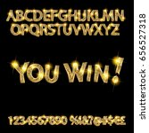 you win. gold alphabet and... | Shutterstock .eps vector #656527318