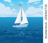 white boat with sail and red... | Shutterstock .eps vector #656561710