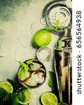 alcoholic cocktail cuba libre ... | Shutterstock . vector #656564938