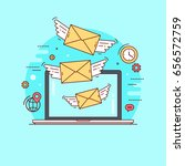 letters flying out from laptop. ... | Shutterstock .eps vector #656572759