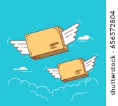 parcels with wings flying in... | Shutterstock .eps vector #656572804