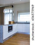 modern kitchen design in light... | Shutterstock . vector #656575969
