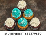 cupcakes with turquoise and... | Shutterstock . vector #656579650