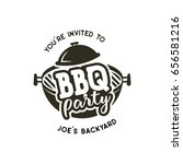 bbq party label. invitation to... | Shutterstock . vector #656581216
