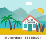 travel and vacation. surfboards ... | Shutterstock .eps vector #656586034