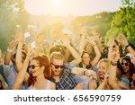 big group of people dancing ... | Shutterstock . vector #656590759