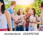big group of people dancing ... | Shutterstock . vector #656590768