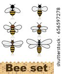 set of vector stylized bees.... | Shutterstock .eps vector #656597278