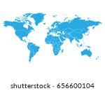 world map in blue color on... | Shutterstock .eps vector #656600104
