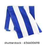 blue stripes beach towel folded ...   Shutterstock . vector #656600698