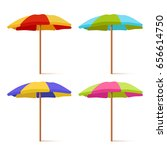 colorful striped beach umbrella ... | Shutterstock .eps vector #656614750