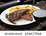 picanha steak with fries and... | Shutterstock . vector #656617066