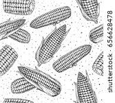 corn cob hand drawn vector... | Shutterstock .eps vector #656628478