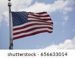 american flag waving sky... | Shutterstock . vector #656633014