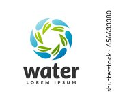 water with leaf icon. eco water ... | Shutterstock .eps vector #656633380