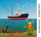 fisherman's ship in the open... | Shutterstock .eps vector #656641693