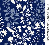 floral vector pattern  three...   Shutterstock .eps vector #656642620