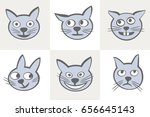 a cute cat muzzles. different... | Shutterstock .eps vector #656645143