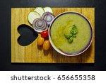 zucchini cream soup on wooden... | Shutterstock . vector #656655358