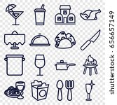 restaurant icons set. set of 16 ... | Shutterstock .eps vector #656657149