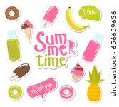 big set of summer stickers.... | Shutterstock .eps vector #656659636