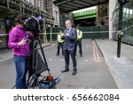 Small photo of London, United Kingdom - 7 June, 2017: Journalists and police officers by the road barriers round the Borough Market, erected after the 3rd of June terror attack to enable the investigation.