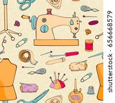 sewing accessories seamless... | Shutterstock .eps vector #656668579