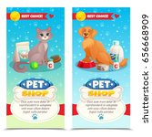 Stock vector pet shop vertical banners with cat and dog feeds toys medicines on blue background isolated 656668909