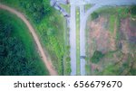 Small photo of aerial view of road junction or t junction
