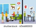 vet clinic waiting room and... | Shutterstock .eps vector #656680003