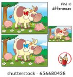 cow and two funny little pigs... | Shutterstock .eps vector #656680438