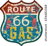 vintage route sixty six gas... | Shutterstock .eps vector #656681068