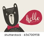funny bear with a speech bubble ... | Shutterstock .eps vector #656700958
