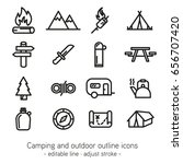 camping and outdoor outline... | Shutterstock .eps vector #656707420