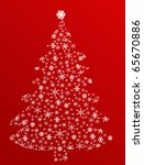 Detailed Christmas tree made from snowflakes, vector illustration - stock vector