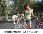 woman with dog in outdoors... | Shutterstock . vector #656718604