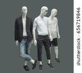 Three Man Mannequins Dressed In ...