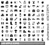 100 apple icons set in simple... | Shutterstock . vector #656723974