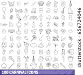 100 carnival icons set in... | Shutterstock . vector #656724046